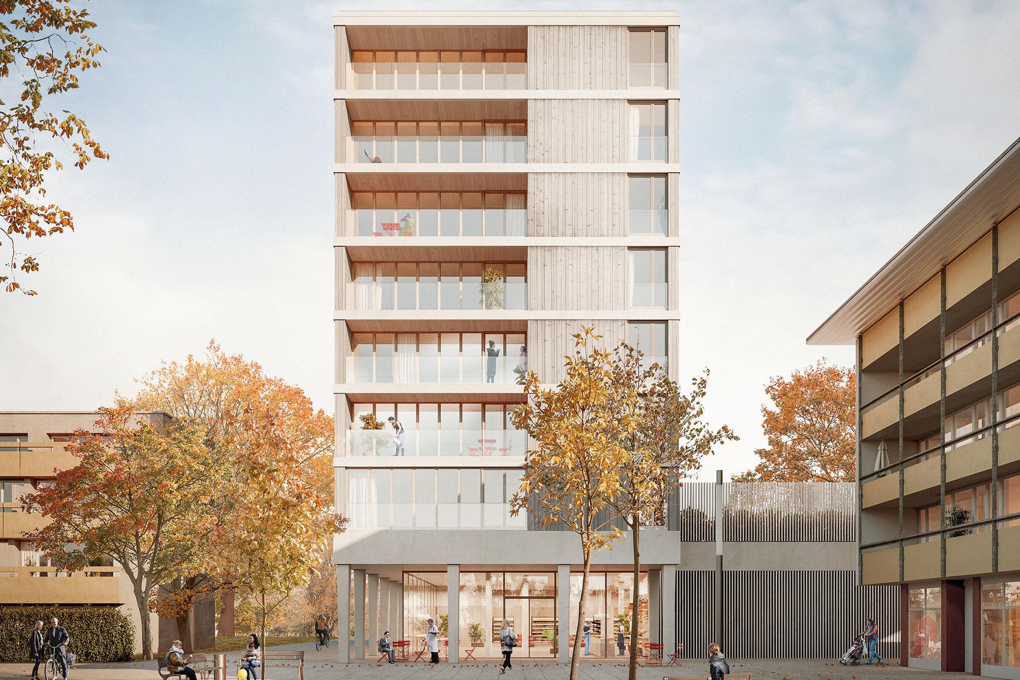 Wohn- Gewerbebau aus Holz – Bugg52 Freiburg